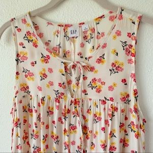 GAP cream yellow and pink floral sleeveless top